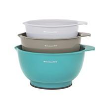 KitchenAid 3pk Mixing Bowls Aqua/Gray/White Nesting Bowls Nonslip Base E... - $807,37 MXN