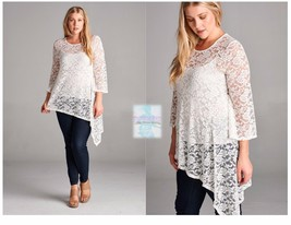 Women Plus Size Lace 3/4 Sleeve Tunic Top Blouse Shirt Casual Boho Stret... - $21.47