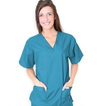 Spectrum Uniforms Teal V Neck Tunic Top Medium Unisex Nursing 221C New - $19.57