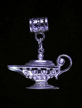 NICE lamp wish Genie Sterling Silver European bead charm - $28.83