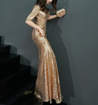 GOLD Sequin Maxi Formal Dress High Waist Side Slit Sequin Dress Wedding Outfits image 5