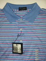 Byron Nelson Men's Performance Golf Polo Shirt, Blue w/white, red, lt blue str - $44.55