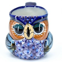 Ceramic Hand Painted Owl Bird Figure Coffee Cup Mug Handmade Guatemala