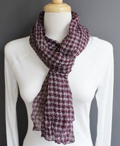 "Purple Grey houndstooth check lightweight gauzy crinkle 70"" long scarf 1... - $15.83"