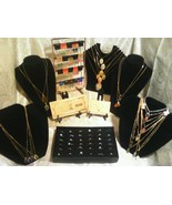 70 PIECE MIXED JEWLERY-LOT~RINGS/EARRINGS/GEMSTONE&CAB NECKLACES+GOLD$10... - $49.47