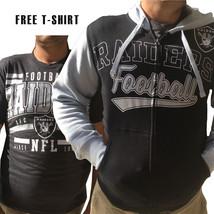 NFL Oakland Raiders Mens Full Zip Hoodie Sweatshirt FREE T-SHIRT New Small - $48.99