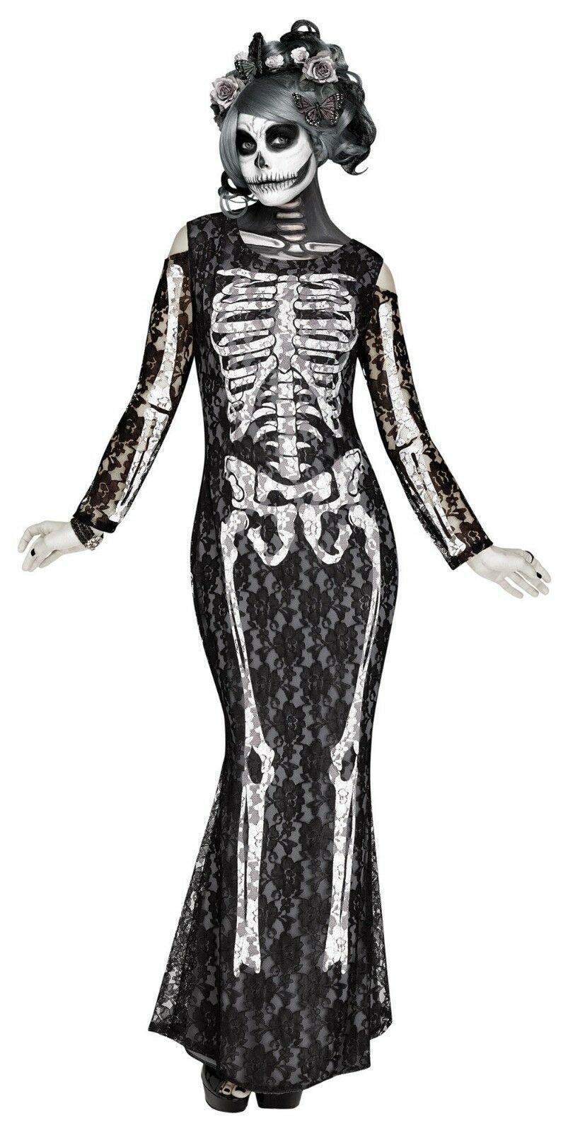 Fun World Spitzen- Knochen Zuckerschädel Skelett Erwachsene Damen