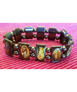 magnetic bead bracelet religious jesus mary stretch unisex black jewelry  - $6.99