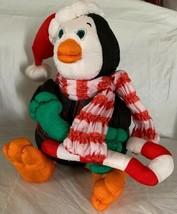 San Francisco Music Box Co. Plush Nylon Puffy Penguin Holiday Candy Cane... - $19.99