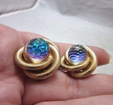 Vintage Blue AB faceted rhinestone bead, gold toned clip earrings - $12.99