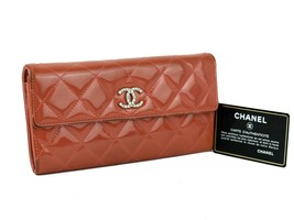 Authentic CHANEL Quilted Enamel Patent Leather CC Flap Orange Long Walle... - $345.51