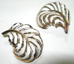 VINTAGE CROWN TRIFARI GOLD TONE & WHITE ENAMEL LEAVES CLIP ON EARRINGS - $40.00
