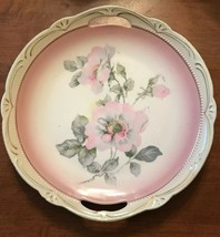 """Vintage Germany China Cake plate 10"""" Painted Pink Dogwood Handles White/... - $10.50"""