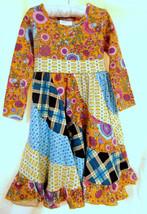 JELLY THE PUG Poppin Plaid Patchwork Dress 100% Cotton Flounce Hem LS Si... - $23.51