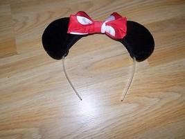Disney Minnie Mouse Ears Headband Red White Polka Dot Bow GUC - $10.00