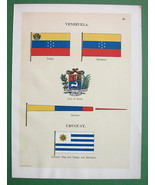 FLAGS of Uruguay & Venezuela Coat of Arms - 1899 COLOR Antique Print - $8.77