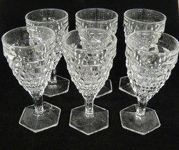 Fostoria American Clear Water Goblets Lot of 6 Stemware Hexagonal Base 2... - $49.49