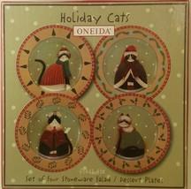 Oneida Fiddlestix Holiday Cats Salad Dessert Plates Set of 4 With Box - $18.81