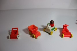 lot vtg Fisher Price little people African American Baby train Bikes, ride horse - $14.95