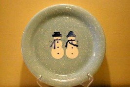 "Home Winter Frost Dinner Plate Snowman Snowflakes 10 7/8"" EUC - $4.84"