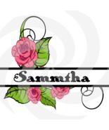 Flower Split Monogram Sammtha 203smp-Digital Clipart-Art Clip-Gift Cards... - $1.99