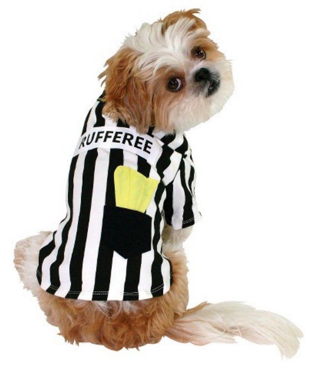 DOG HALLOWEEN COSTUME-PET T-SHIRT FOOTBALL RUFFEREE SOCCER SPORT MASCOT S-XS NEW