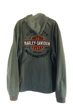Genuine Harley Davidson Long Sleeve Hoodie Khaki Green Full Zip Tall 3XL... - $137.51