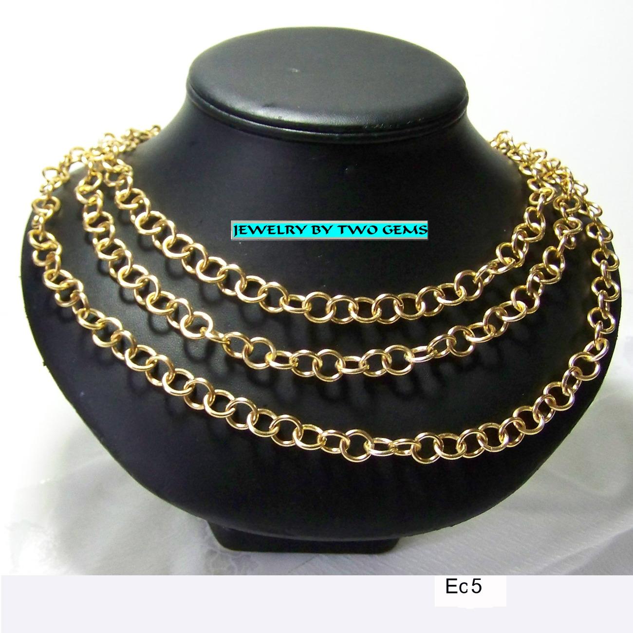 Jewelry By Two Gems (Ec5) Golden Aluminum Triple Multi Chain