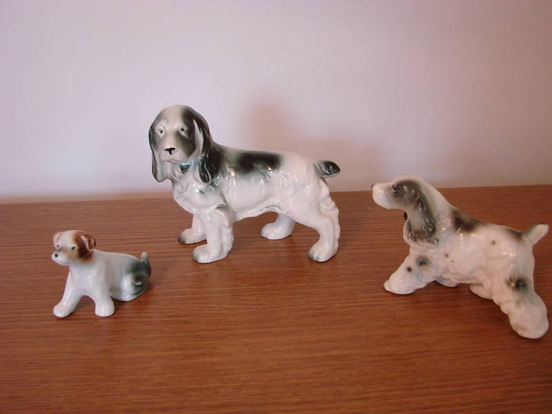371c Set of 3 Ceramic Dog Figurines Cocker Spaniel Various Bonanza