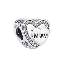 Pandora Tribute to Mum Silver Charm with Clear Cubic Zirconia 792070CZ - $47.04