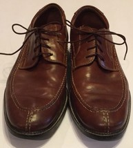 Johnston Murphy Brown Leather Lace Up Oxford Shoes Mens 11.5 M Rubber Sole - $14.01