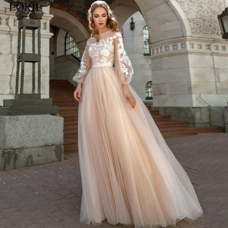 Ie lace appliques a line wedding dress lantern sleeves tulle boho wedding gowns vestido de novia