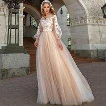 Lace Appliques A-Line Wedding Dress Lantern Sleeves Tulle Boho Wedding Gown