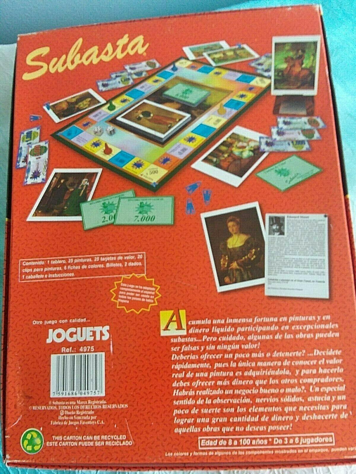 Subasta,El Juego de Compra-venta de obras de arte,4975,Vtg Board Game in Spanish