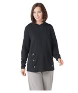 AnyBody Loungewear Medium French Terry Sweatshirt Side Snaps Black Hoodie M - $13.99