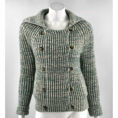 Primary image for American Eagle Cardigan Sweater Medium Green Ribbed Heavy Knit Double Breasted