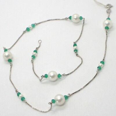 18K WHITE GOLD NECKLACE VENETIAN CHAIN ALTERNATE FACETED CHALCEDONY AND PEARL