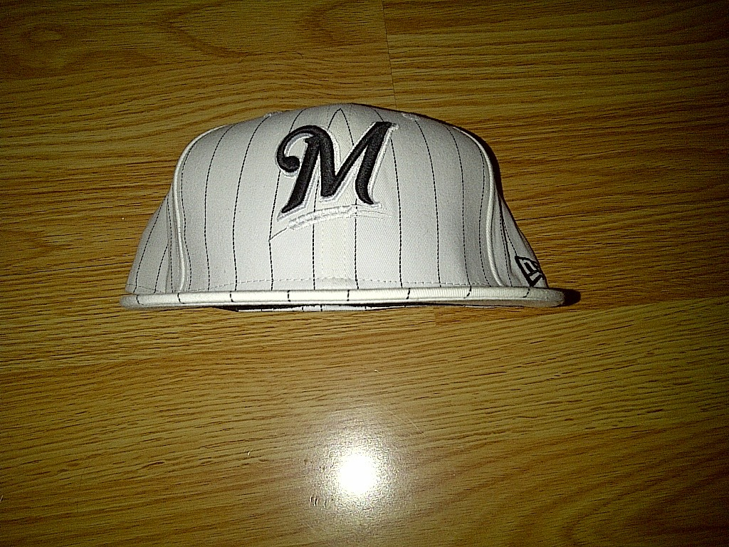 New Era 59fifty MLB Milwaukee Brewers White Black Pinstripe Fitted Cap Hat 8
