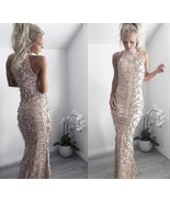 Women Gold Sequins Mermaid Long Prom Formal Evening Gown Party Bridemaid... - $55.00