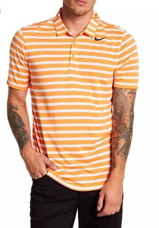 7b17e6cf03 Nike Breathe Stripe Men's Golf Polo 833065-856 ORANGE/WHITE Size Medium
