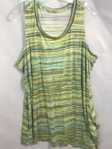 LOGO Layers Blue, Gray, Yellow Striped Sleeveless Tunic, Women's Size XL - $23.74