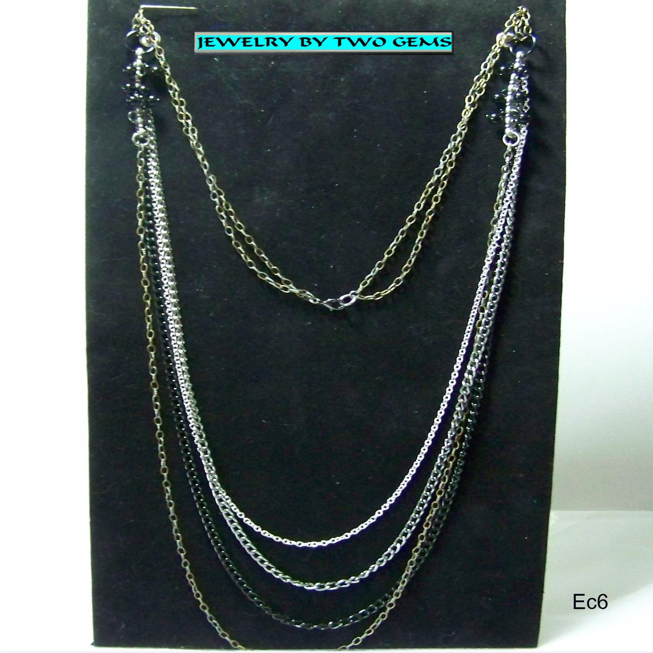 Jewelry By Two Gems (Ec6) Black-Silver-Gunmetal Multi Chain