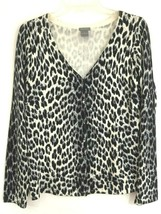 Ann Taylor Cardigan Sweater Size Large Ivory Gray Animal Print V Neck Silk - $21.09