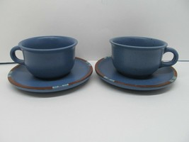 """Vintage Dansk Blue Mesa 3.75x2.5"""" Cup and 6"""" Saucer Set of 2 Made in Portugal - $12.73"""