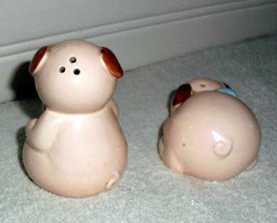 Salt & Pepper Shakers Pink Piglets Ceramic Animals