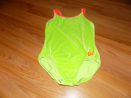Adult Size Small GK Elite Neon Green Coral Velour Dance Gymnastics Leota... - $20.00