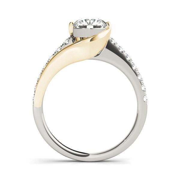 14k Two Tone Gold Split Shank Style Diamond Engagement Ring (1 1/4 cttw)