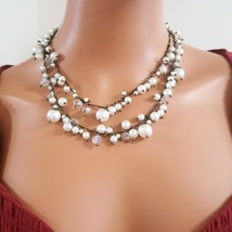 SEQUIN BRASS PLATED LONG FAUX PEARL BEADED NECKLACE - $15.00