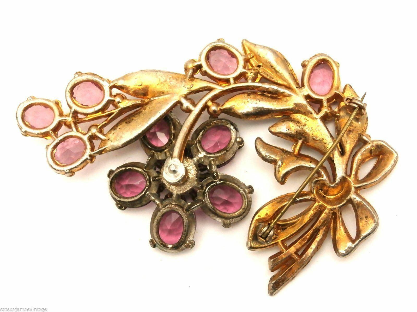 Vintage Brooch 1940s Paste  Large Pink Stones Enamel