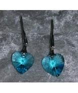 Blue  Crystal heart earrings pierced hook silver tone Downton Abbey - $13.50